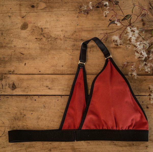 soutien-gorge mono-bonnet plat en coton rouge