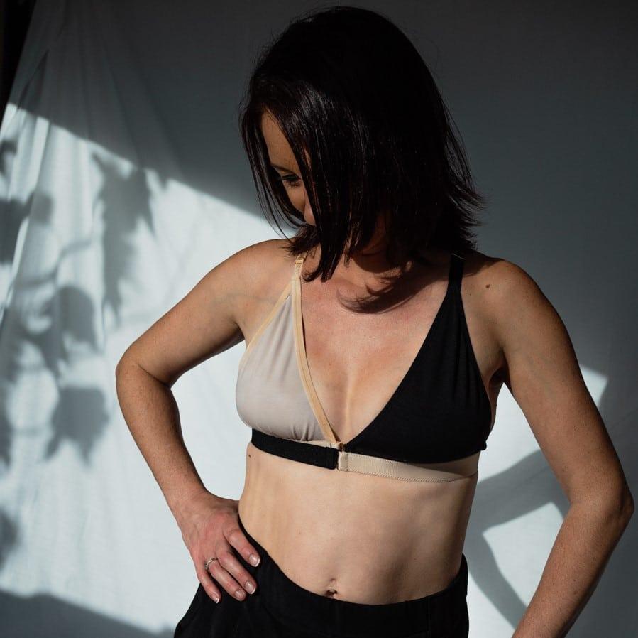 soutien-gorge modulable en coton oeko tex noir et nude