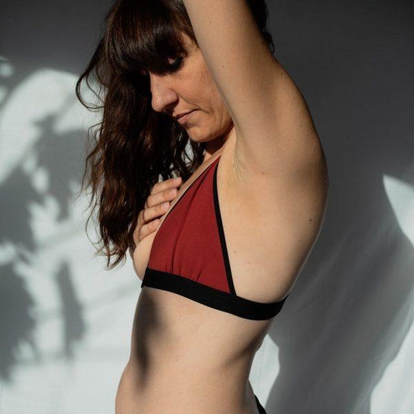 soutien-gorge mono-bonnet plat post-mastectomie en coton rouge