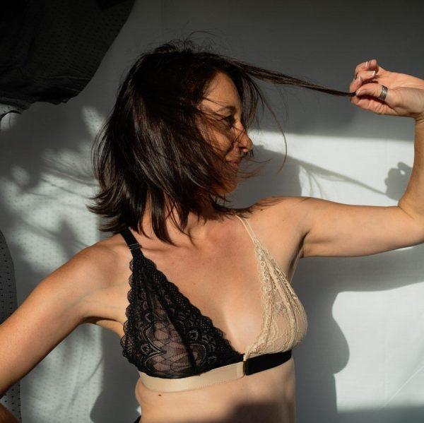 soutien-gorge post-mastectomie en dentelle oeko tex noir et nude