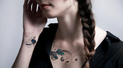 tatouage éphémère plume de paon